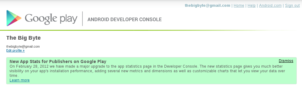 Announcement on the Android Developer Console