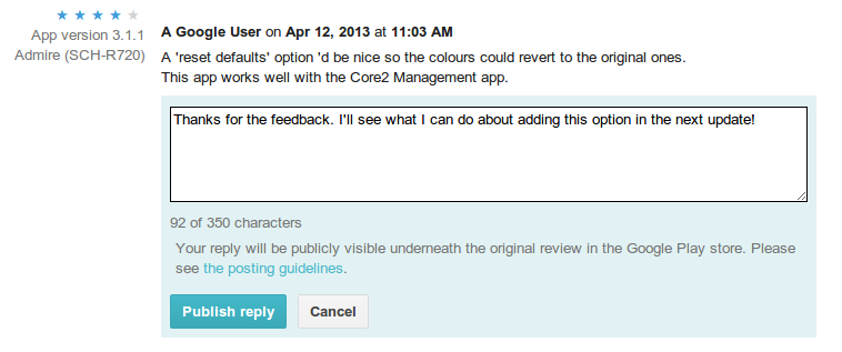 Screenshot of Google Play developer feature - Reply To User Reviews